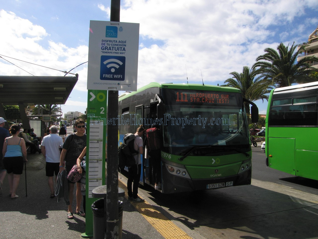 Tenerife bus in Los Cristianos bus station 111